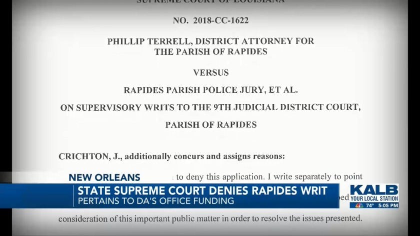 State Supreme Court Denies Rapides Writ