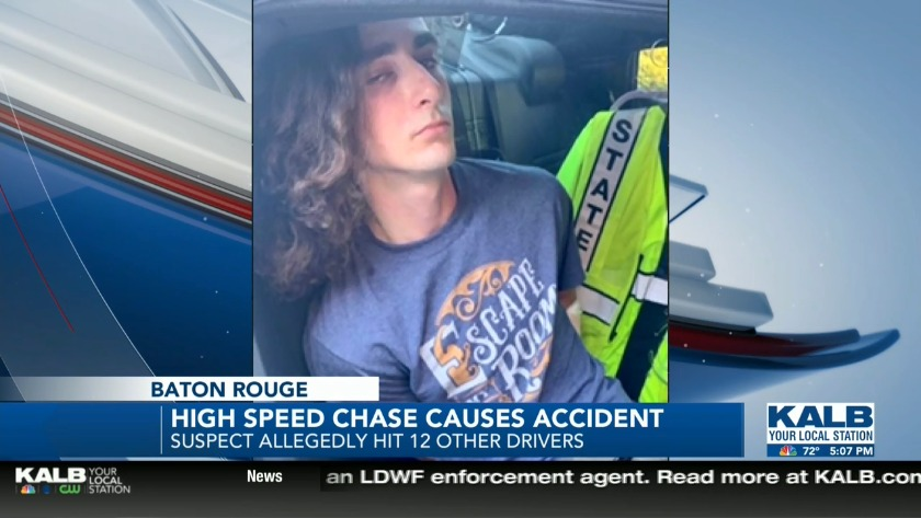 High speed chase in Baton Rouge leads to 12 wrecks