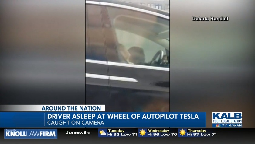 Tesla driver asleep at the wheel