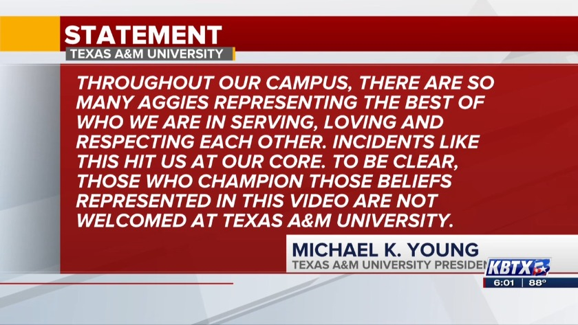 Texas A&M President responds to viral video that contained