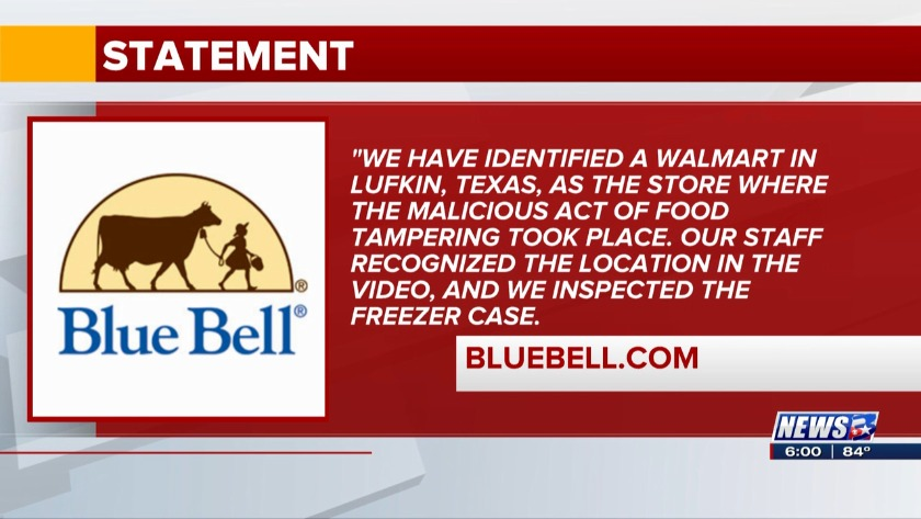 Blue Bell says video of woman licking ice cream was taken
