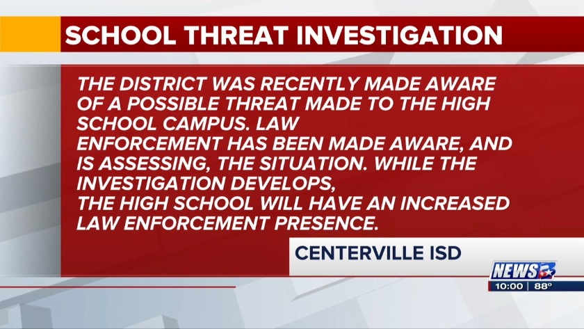 Centerville ISD warns parents about threat made against high