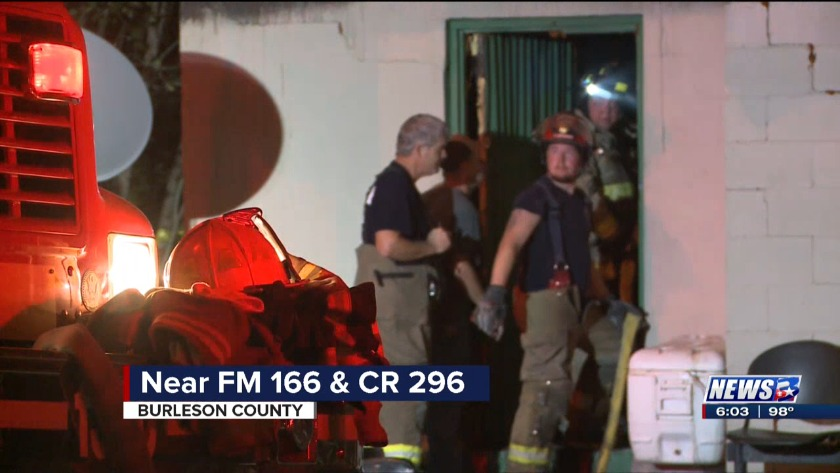Several agencies battle overnight fire in Burleson County