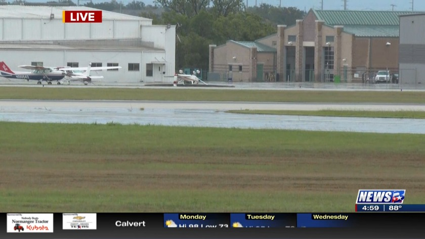 Airplane at Easterwood Airport damaged by wind