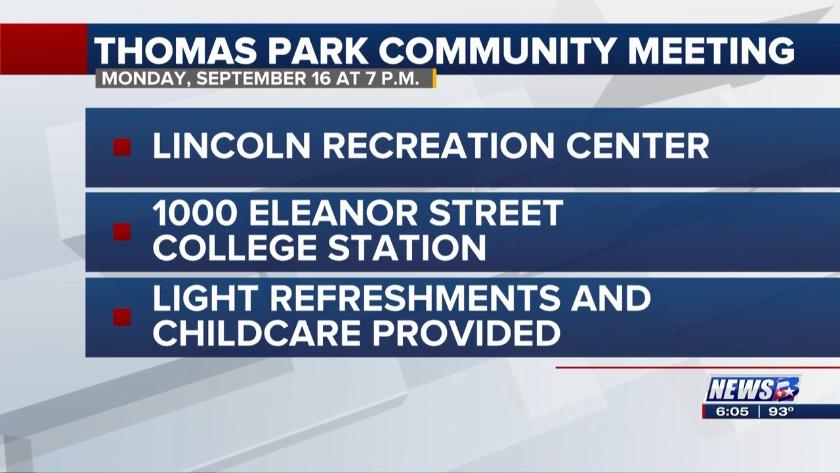 College Station hosting meeting for Thomas Park neighborhood