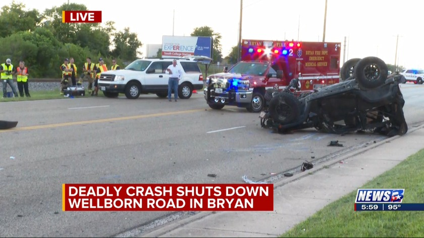 Wellborn Road closed in Bryan following deadly crash - 6 p m
