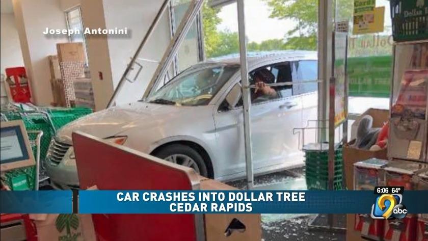 Car smashes into Cedar Rapids Dollar Tree
