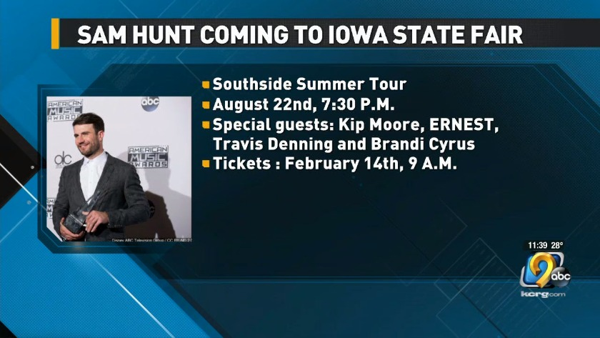 Sam Hunt To Perform At Iowa State Fair Grandstand