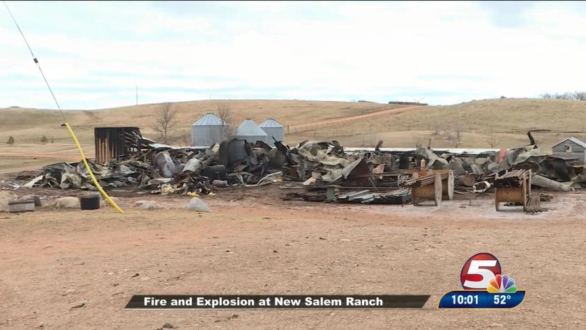 Fire, explosion at ranch near New Salem