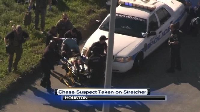 Houston car chase ends in a crash