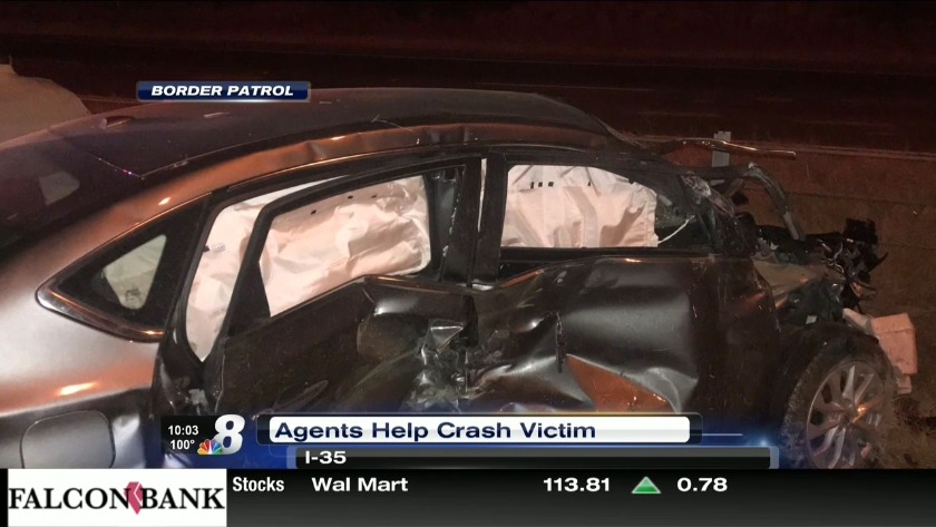 Border Patrol agents rescue woman involved in car crash