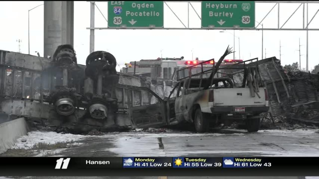 UPDATE: One dead after semi falls from I-84 overpass   Other