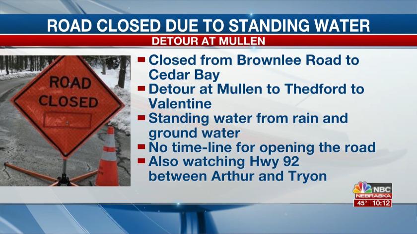 Ground water causing road closure north of Mullen to Valentine