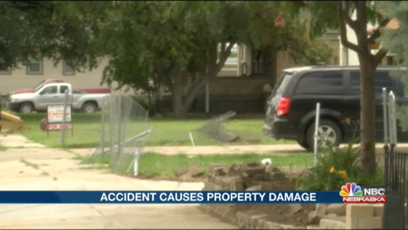 A one-vehicle accident causes property damage Wednesday morning
