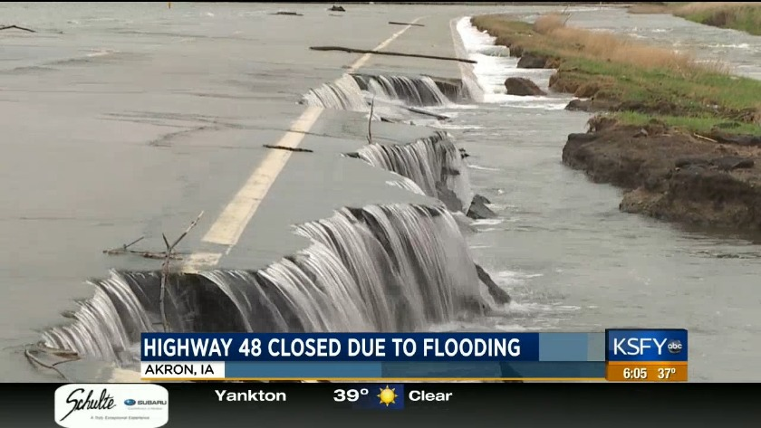 Flooding causes a major highway to close due to erosion