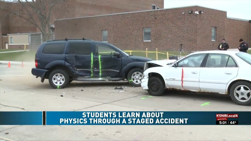 Students learn about physics through simulated car accident