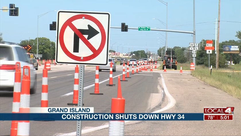 Highway 34 shuts down for construction