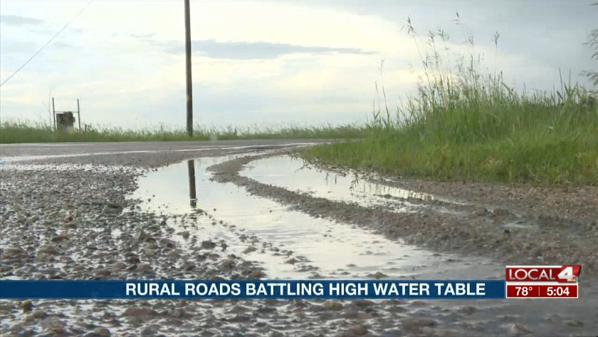 High water tables causing trouble for county roads