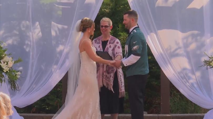 Carson Wentz Wedding.Groom Wins Super Bowl Bet Wears Carson Wentz Jersey At Wedding