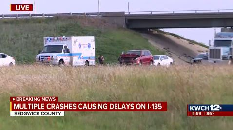 4 hurt, 1 critical in crash on I-135 northern Sedgwick County