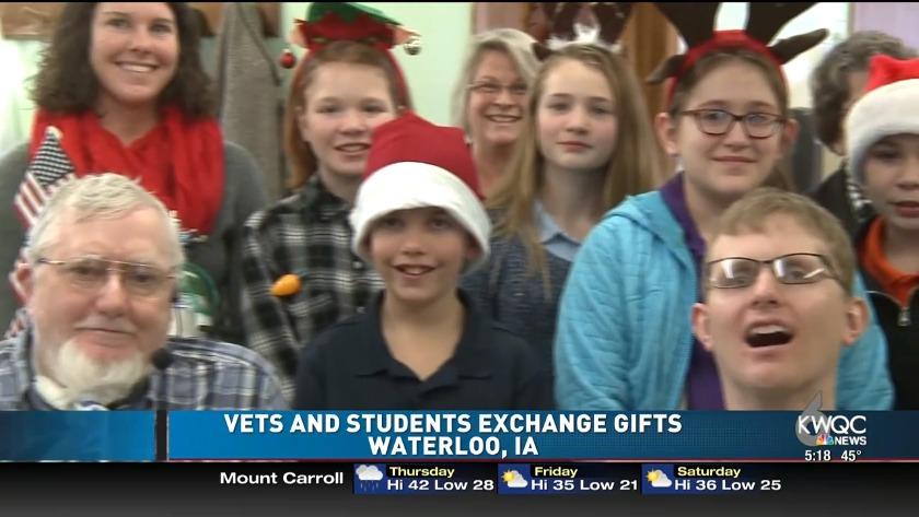 Iowa elementary students meet their veteran pen pals