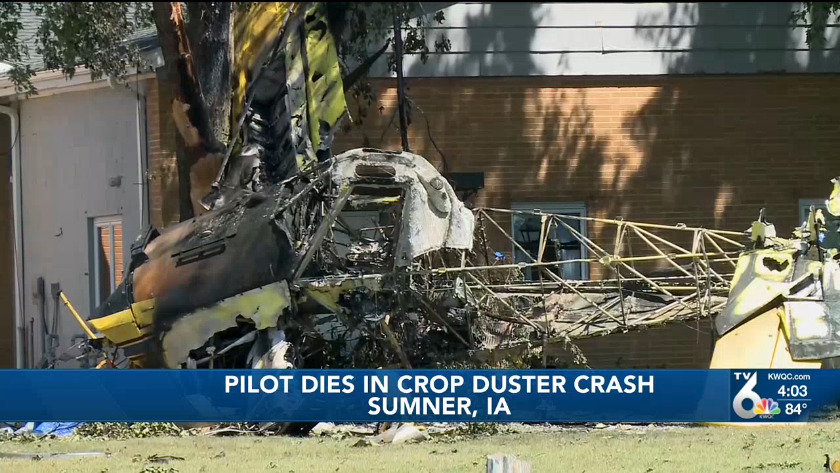 Pilot dies after crop duster crashed Thursday in Sumner, Iowa