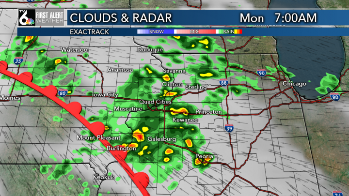 Showers & a few rumbles return Sunday night into Monday morning