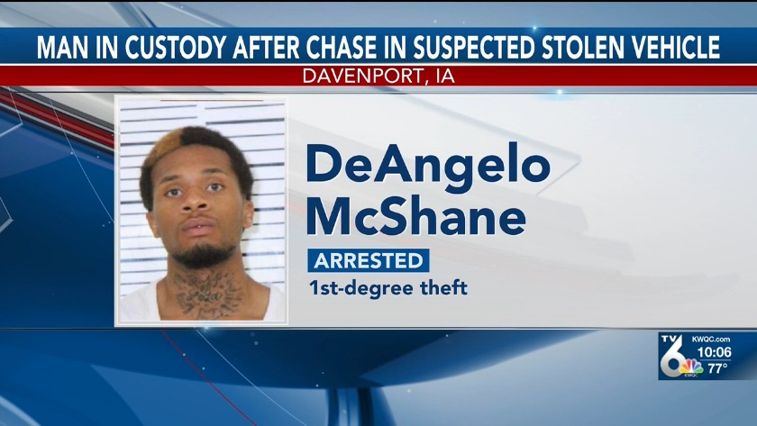 Rock Island man arrested after chase in suspected stolen vehicle