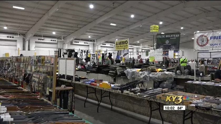 Safety coordinator speaks on security precautions at the gun show