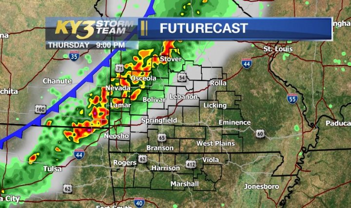 A cold front arrives late Thursday