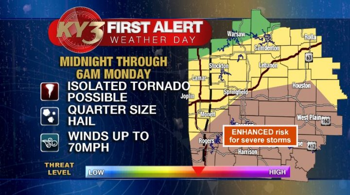 Severe threat has once again increased for tonight