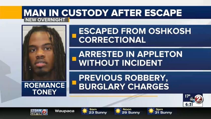 VIDEO: Man who escapes Oshkosh correctional facility is back