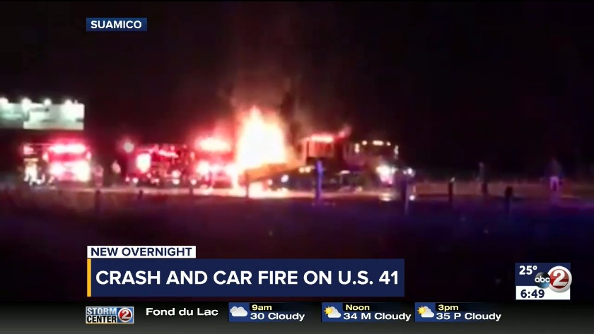 VIDEO: Crash and fire on Hwy  41