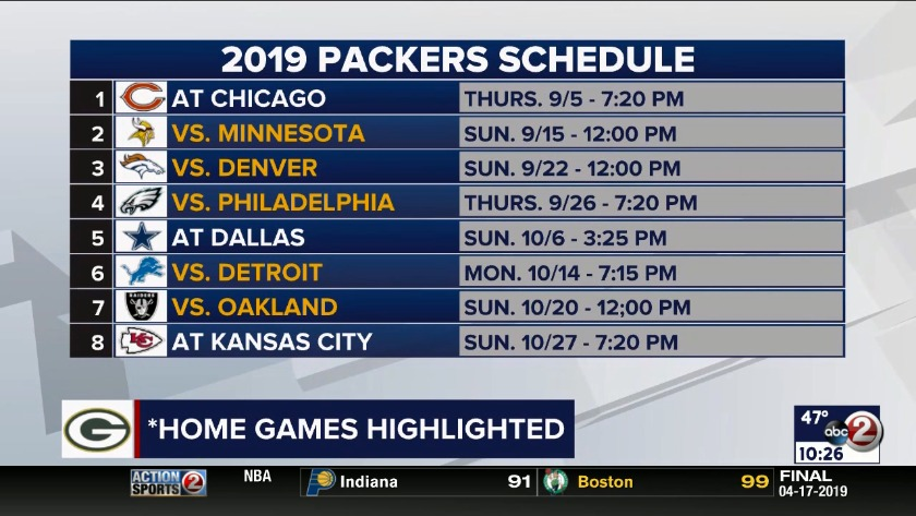 Green Bay Packers Release 2019 Schedule