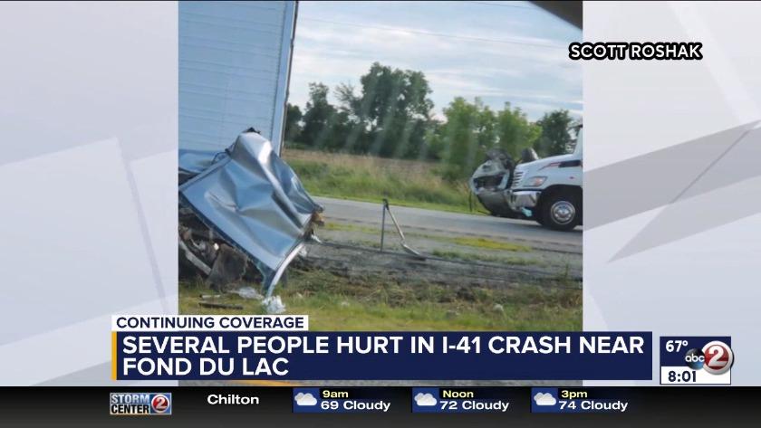 WATCH: Several people hurt in I-41 crash near Fond Du Lac