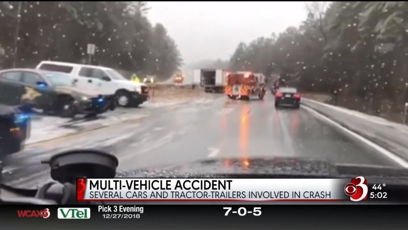 Slippery conditions lead to major I-89 pileup