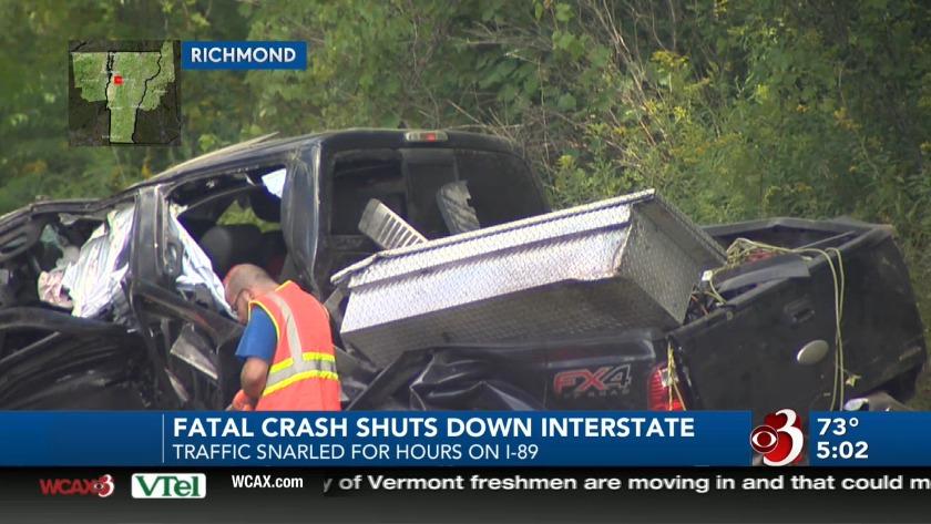 Deadly crash on I-89 spawns secondary crash, traffic jam