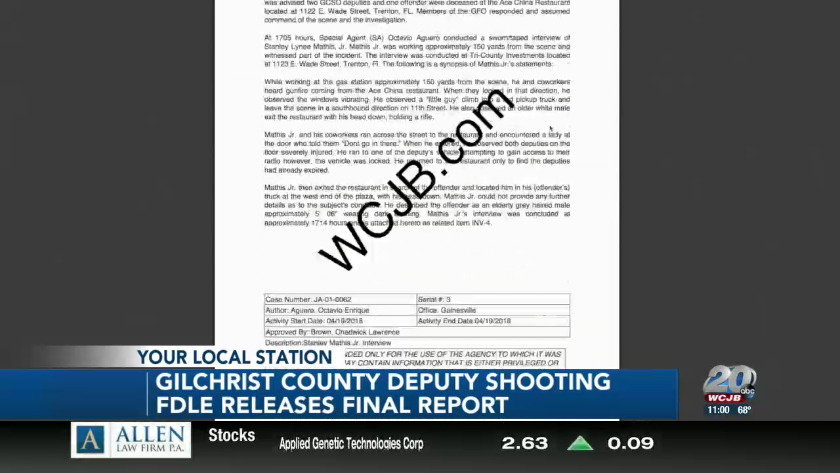 Report on the fatal shooting of two Gilchrist Co  Deputies