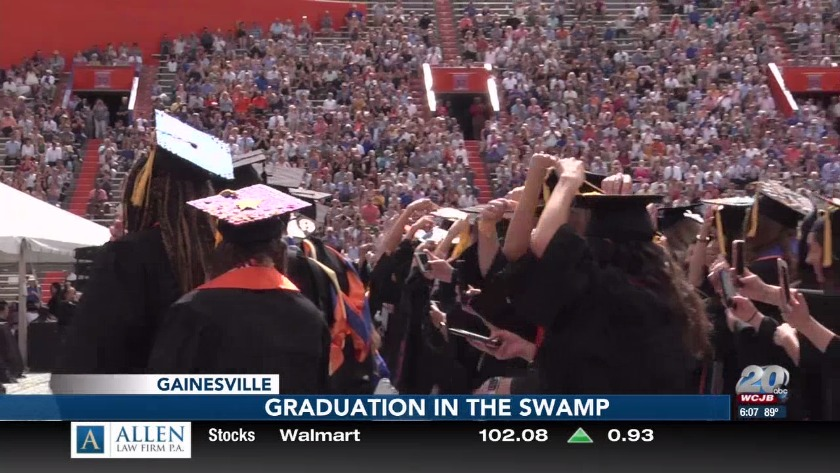Low numbers, high spirits at UF graduation in The Swamp