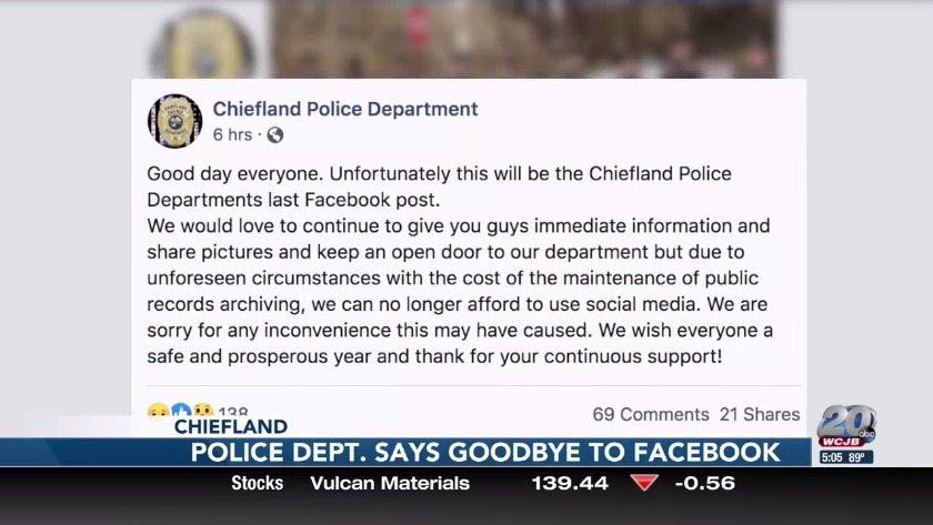 Chiefland Police Department says goodbye to Facebook