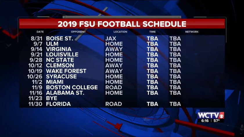 picture regarding Fsu Football Schedule Printable identified as Florida Place soccer releases 2019 program