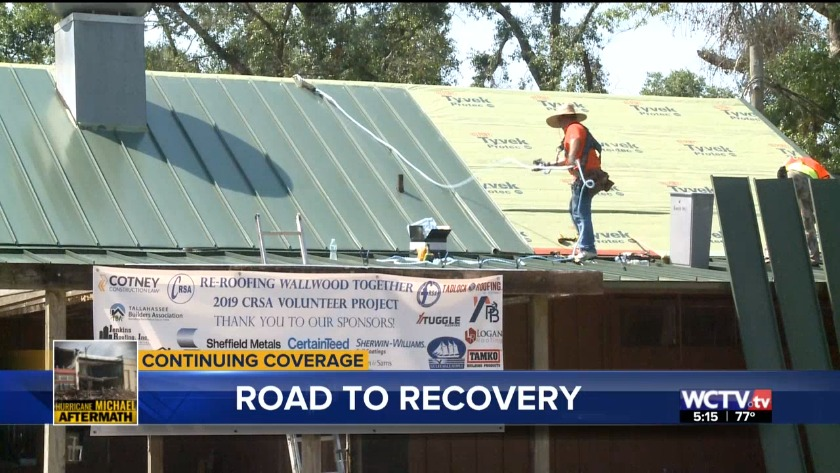 Big Bend workers install new roofs at Wallwood Boy Scout Reservation