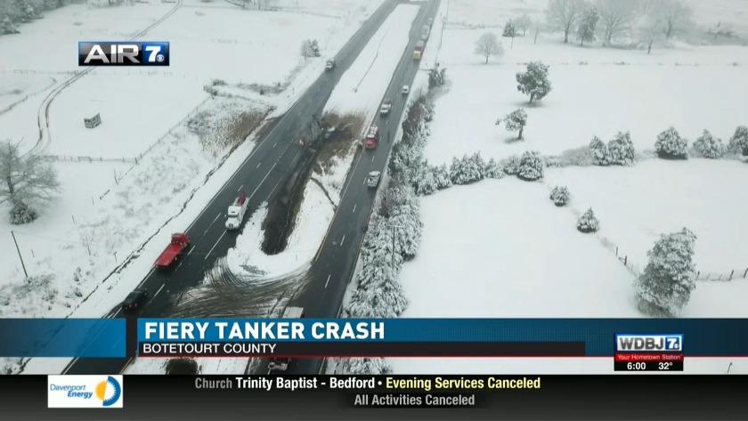 Fiery tanker crash on Route 220
