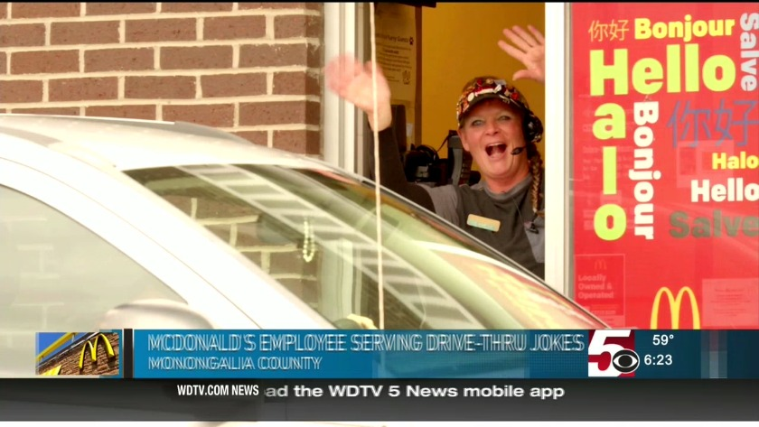 Morgantown McDonald's employee serving drive-thru jokes