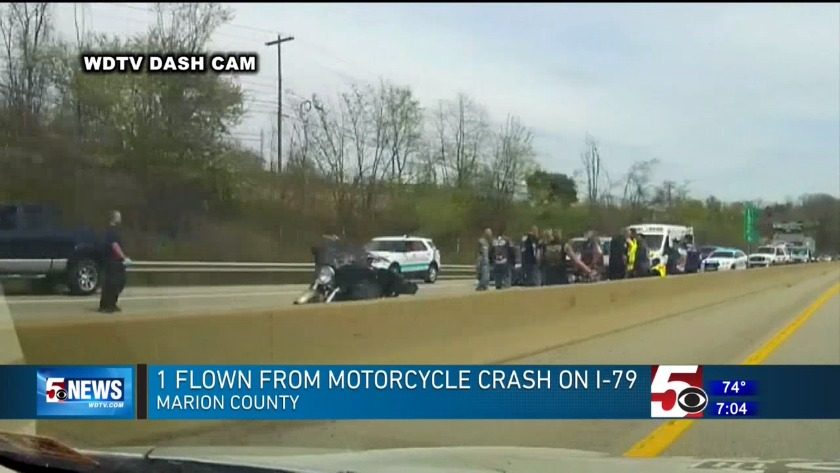 1 flown from I-79 accident involving motorcycle