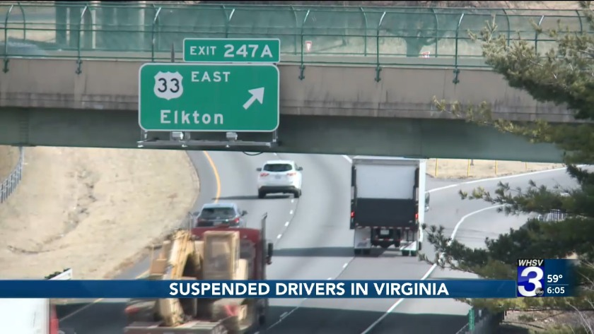 A number of drivers in Virginia suspended over failure to