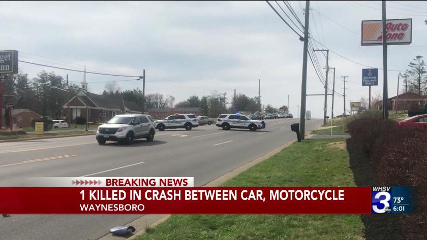 1 killed in crash between car, motorcycle