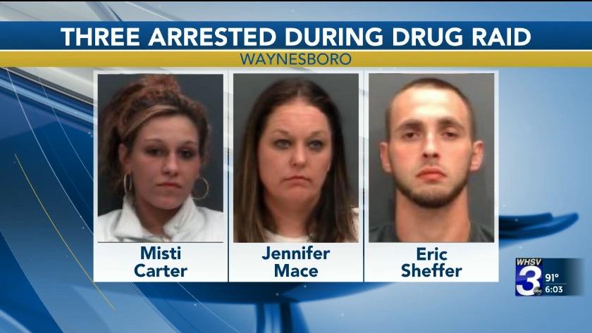 Waynesboro police arrest 3 in drug raid for cocaine, meth