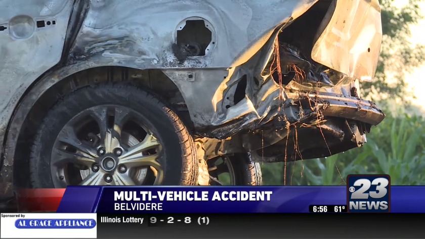 Multi-car crash causes one vehicle to catch fire on U S  Highway 20