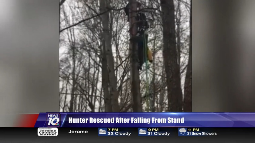 Hunter found hanging upside down in tree rescued